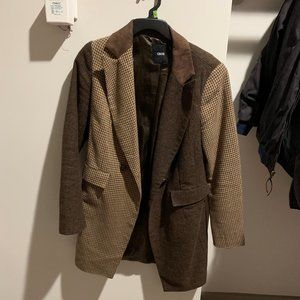 ASOS Brown Houndstooth Colorblock Coat
